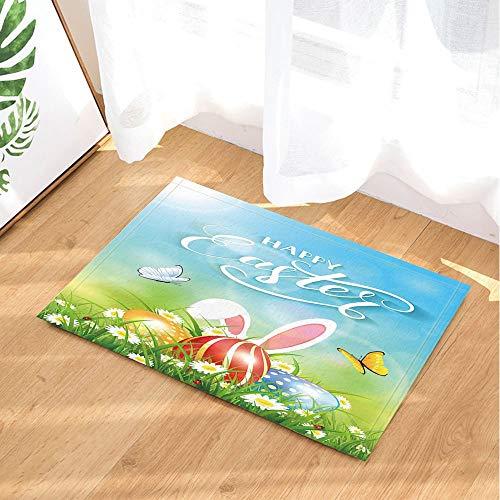 Bad Teppiche Eier mit Kaninchen Ohren in im Gras und Blumen mit Schmetterlinge Flying Rutschfeste Fußmatte Boden Eingänge Innen vorne Fußmatte Kinder Badteppich 39,9x59,9cm ()