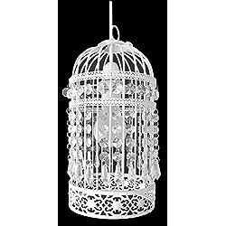 Pantalla para lámpara de estilo antiguo, con forma de jaula de pájaros, montaje en techo, para decoración