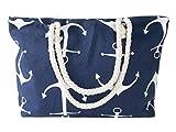 Maritime Strandtasche Shopper mit Anker Motiv - 55 x 36 x 12 cm - Beach Schultertasche Damentasche Einkaufstasche Badetasche von Alsino TT-m22