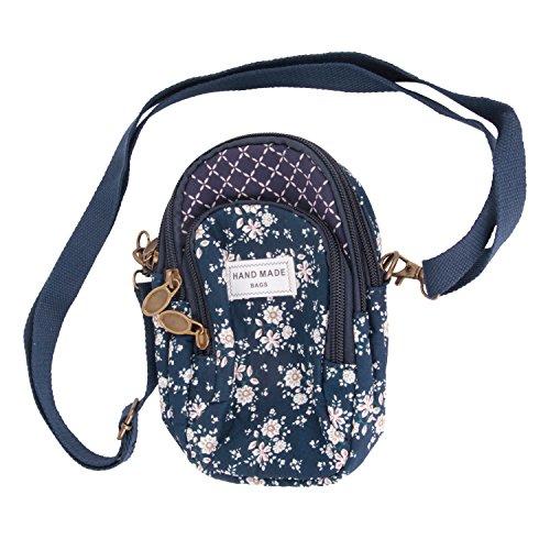 Damen Mädchen Handy Umhängetasche Baumwolle Handytasche zum Umhängen Kartentasche Vielschichtige Geldbörse Kleiner Taschen Universal für iPhone 5 6 7 plus, Samsang Galaxy, Blau, Einheitsgröße