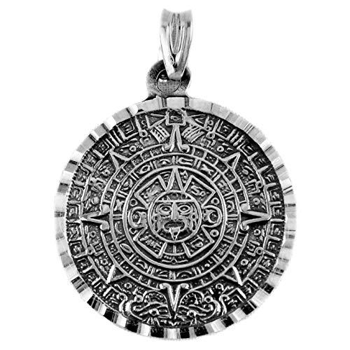 Handgefertigter Anhänger aus Silber 800 Kreis mit Gravur des Azteken-Kalenders oder Sonnenstein, fein, detailliert und kopisch sehr fest zum Monolit; hergestellt in Taxco Dorf, Mexiko Gewicht: 9.5g -