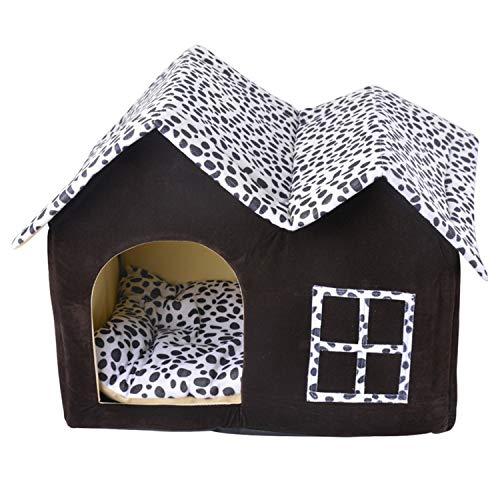 MAOMEI Schwarzes Punkthunde Haus, Haustiernest, Hausformhaus, Katzenhaus, Warm, Matte 54 * 37 * 42cm