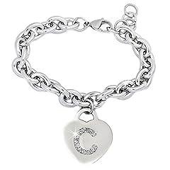 Idea Regalo - Bracciale donna in acciaio groumette con lettera C - iniziale e cristalli BIANCO, misura regolabile, nascita, anniversario, idea regalo
