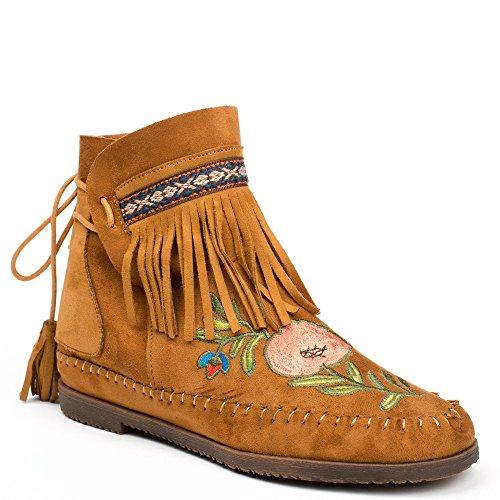 Ideal Shoes - Bottines effet daim avec broderies et franges Abbie Camel