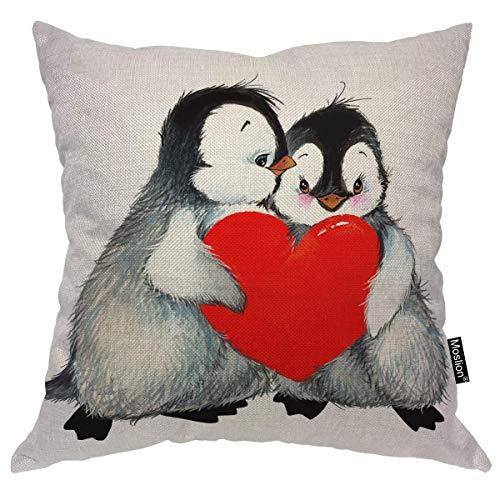 odin sky Pinguin Dekokissen Fall Valentinstag Liebe Niedlichen Tier Pinguine Mit Roten Herzen Kissenbezug Dekorative Quadratische Kissen Akzent Baumwolle für Sofa Stuhl, 45X45 cm