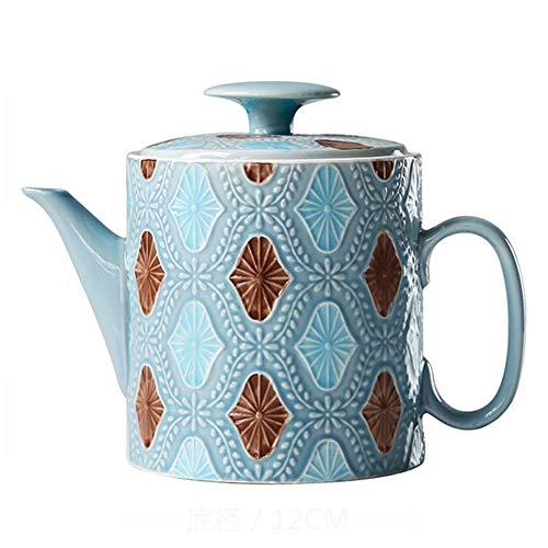 Kaffeekanne Kaffeebereiter Wasserkessel Kaffee Topf Isolierkanne Teekanne French Press Espressokocher Kaffee Thermos Keramik Relief Mit Deckel Groß GAOFENG (Farbe : Blau) (Keramik-french Große Press)