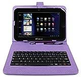 DURAGADGET Etui violet aspect cuir + clavier intégré AZERTY (français) pour Essentielb Smart'Tab 1004XS and Smart'Tab 1003S tablettes 10.1' Boulanger+ port de maintien - Garantie 2 ans