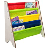 TOP-MAX Childrens Bookcase Kids Sling Bookshelf Wood Book Display Storage Rack Shelves Soft Nylon Fabric Nursery Furniture for Baby Bedroom