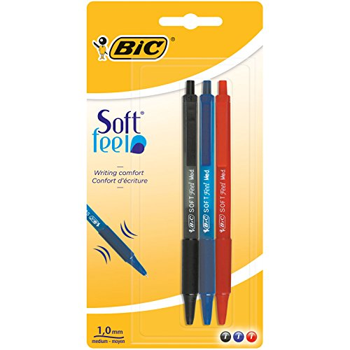 BiC 837394 Soft Feel - Ballpoint pen (3 units), multicolored color 3 package