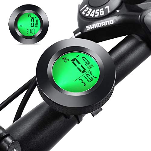 gotyou Runder Fahrrad Kilometerzähler Tachometer,Wasserdichter Fahrradcomputer, LCD-Hintergrundbeleuchtung,Geschwindigkeitsmessung Aufwecken und Multifunktionen,Geeignet zum Radfahren