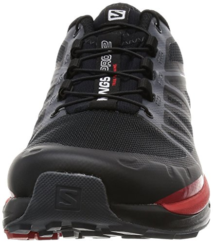 Salomon Wings Pro 2, Chaussures de Running Entrainement Homme Noir (Black/Dark Cloud/Radiant Red)