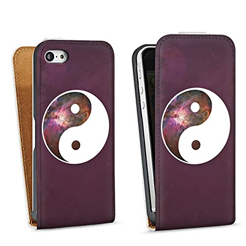 Apple iPhone 5 Housse Étui Silicone Coque Protection Ying Yang Galaxie Spiritualité Sac Downflip blanc