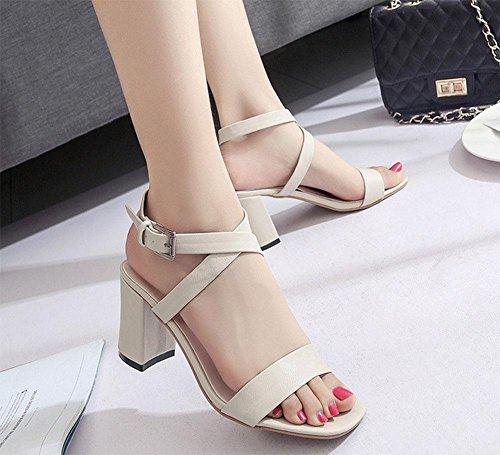 sandali aperti parola croce cava fibbia scarpe con tacchi spessi femminile selvatici meters white