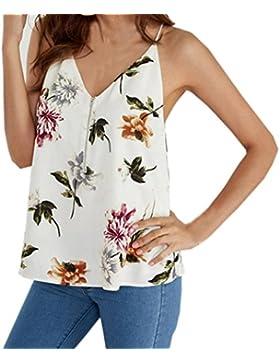 Wawer Blusa sin mangas con estampado floral de verano, para baile, club, fiesta, diario, playa, blanco, Small