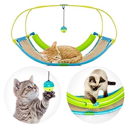Pro Petcare | 3 in 1 Katzen-Spielzeug – Spielwippe, Kratzbrett, Schlafplatz. Abwechslungsreich und pflegeleicht
