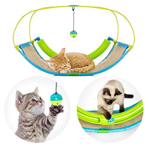 Pro Petcare | 3 in 1 Katzen-Spielzeug - Spielwippe, Kratzbrett, Schlafplatz. Abwechslungsreich und pflegeleicht
