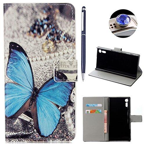 AyiHuan Sony Xperia XZ (5,2 Zoll) hülle, Folio PU Leder Flip Cover Wallet Hardcase im Bookstyle mit Standfunktion Karteneinschub und Magnetverschluß Etui für Sony Xperia XZ, Blue Butterfly