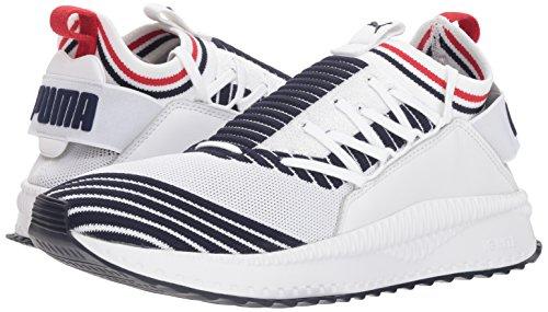 PUMA Men s Tsugi Jun Sneaker White-Peacoat-Ribbon red  9 5 M US