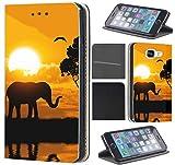Samsung Galaxy S5 / S5 Neo Hülle von CoverHeld Premium Flipcover Schutzhülle Flip Case Motiv (1524 Elefant Sonnenuntergang Afrika)
