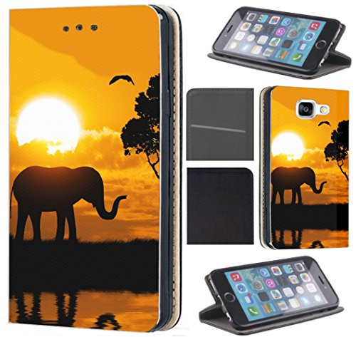 CF-Mobile Hülle für Samsung Galaxy A40 Handyhülle Flipcover Schutzhülle Coverfix Handycover Handy Case 1524 Elefant Sonnenuntergang Afrika Hülle für Samsung Galaxy A40