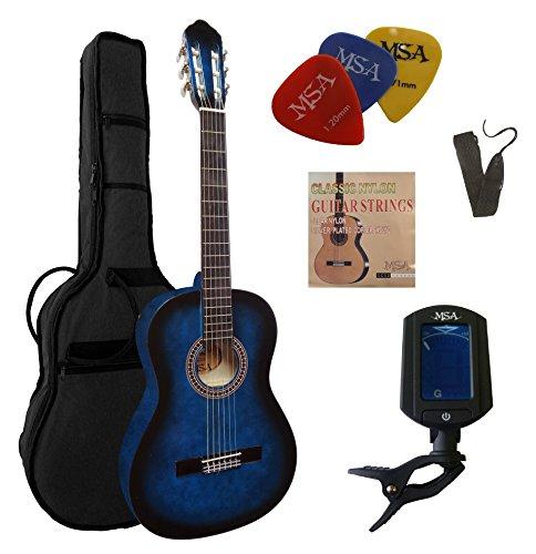 Chitarra 4/4 da concerto nel classico set- blu sfumato- cassa in legno di tiglio-borsa-tracolla-corde-3x plettri-accordatore et33b-c23