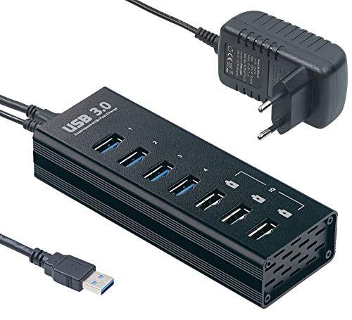Xystec USB Ladestation: Aktiver USB-3.0-Hub mit 4 Ports & 3 Schnell-Lade-Buchsen (BC 1.2), 4 A (USB Ladehub)