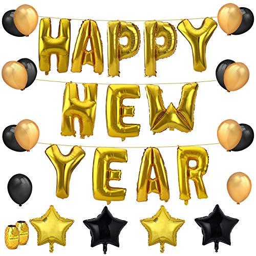 Howaf Neujahr Silvester Party Set 2019 NeuJahrdeko, 26Zoll Gold Frohes Jahr Folienballons, 18Zoll Stern Luftballons, Schwarz Gold Latex Ballons Helium Ballons Jahr Party Dekorationen