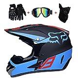 LETU Erwachsener Motocross Helm MX Motorradhelm ATV Scooter ATV Helm D.O.T Zertifizierter Fox V3 Multicolor mit Brille Handschuhe Maske (S, M, L, XL),S55~56CM