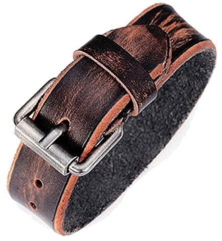 SaySure - Genuine Leather Men Bracelets Buckle Cuff Wrap Bracelet