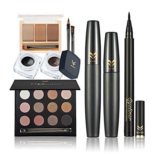 Anself - Huamianl Set de Maquillaje 6 pcs (sombras de ojos, polvo para cejas, delineador, máscara de pestañas, delineador en gel)