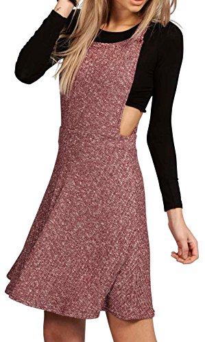 RE TECH UK donna a coste lavorato a maglia GREMBIULINO Vestito stile pattinatrice / Swing MINI tutina salopette BACCA vino