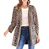 IMJONO Mode Damen Wildleder Leopard Print Langarm warmen Wintermantel (Small,Khaki)