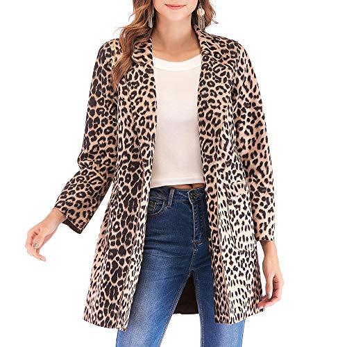 IMJONO Mode Damen Wildleder Leopard Print Langarm warmen Wintermantel (Small,Khaki)