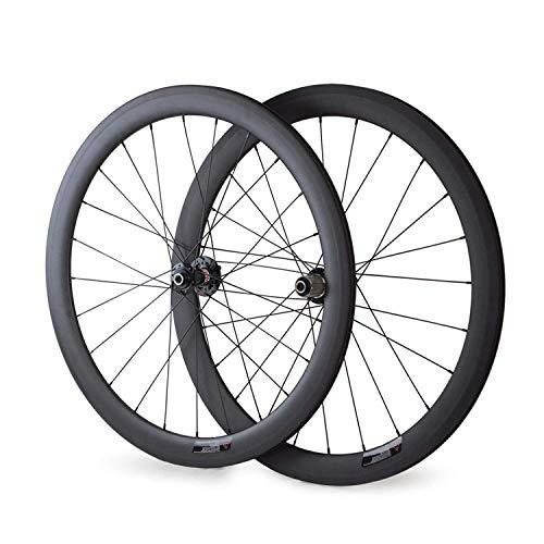 VCYCLE 700C Carbon Rennrad Laufradsatz 50mm Drahtreifen Scheibenbremse Breite 23mm kann Achsdurchführung Passen UD Matt (VORDERSEITE12*100mmRückseite12*142mm)