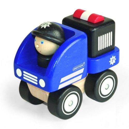 Polizeiauto Holz Holzauto Polizei blau Pintoy 88071