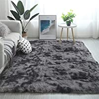 Modern Shaggy Rugs Fluffy Soft Touch Dazzle Sparkle Area Rug Carpet Large for Living Room Bedroom Floor Mat (Dark Grey,200 x 300cm)
