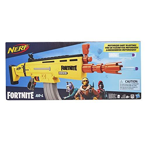 Il blaster AR-L Fortnite Nerf è ispirato al blaster usato su Fortnite, riproducendo l'aspetto e i colori del famoso videogioco. Gioca a Fortnite nella vita reale con questo blaster Nerf Elite che include uno sparadardi motorizzato. Potenzia il motore...