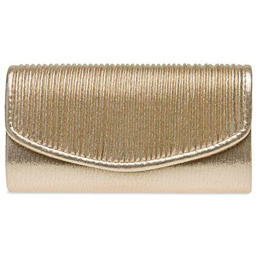 Caspar TA399 Bolso de Mano Fiesta para Mujer Clutch Brillo con Solapa Drapeada, Color:dorado,...