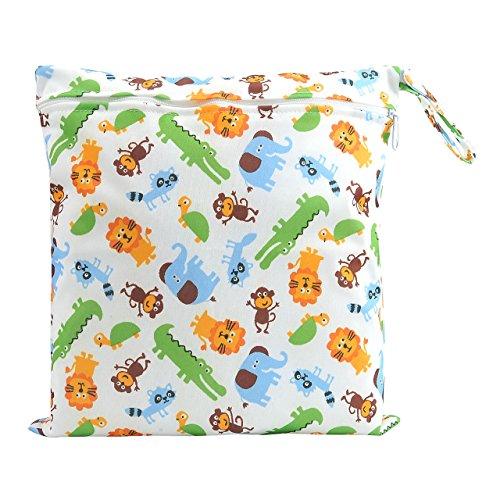 CHIC DIARY Windeltasche wasserdicht wiederverwendbares Windelsäckchen mit Reißverschluss Feuchttücher Organiser für Baby Kleinkind (Tier)