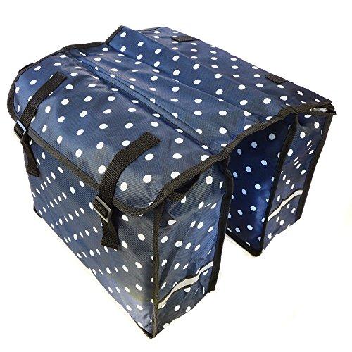 Gepäckträgertasche Doppeltasche Fahrradtasche Seitentasche | verschiedene Muster und Farben Punkte blau