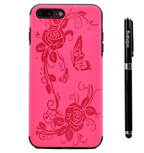 """inShang iPhone 7 Plus 5.5"""" Coque Housse de Protection Etui pour iPhon 6 5.5 inch ,Ultra mince et léger TPU matériel Le Style Pratique Coque arrière (back case) ,+ Qualite inShang Logo Pens Haute Style Rose butterfly flower"""