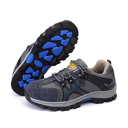 Men's Safety Shoes Steel Toe Work Sneakers Slip Resistant Breathable Hiking Climbing Shoes - 10.5 - Leather Steel Toe Sneakers