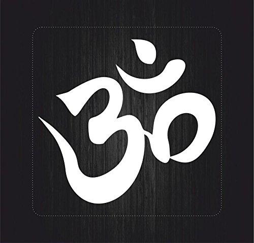 Autocollant sticker macbook laptop voiture moto om aum yoga hindouisme blanc