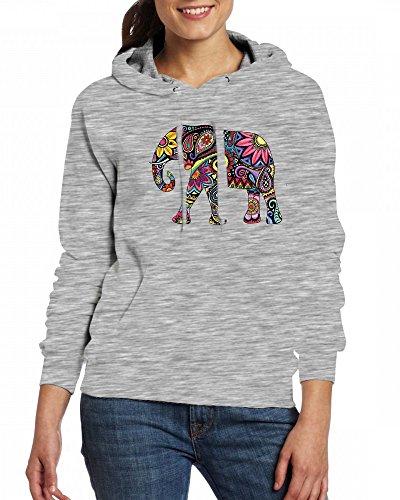 Elephant Sticker Decal Womens Hoodie Fleece Custom Sweartshirts Grey