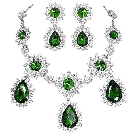 EVER FAITH® Cristal Autrichien Flocon de Neige Fleur Collier Boucle d'Oreilles Parures Vert Ton d'Argent A14034-12