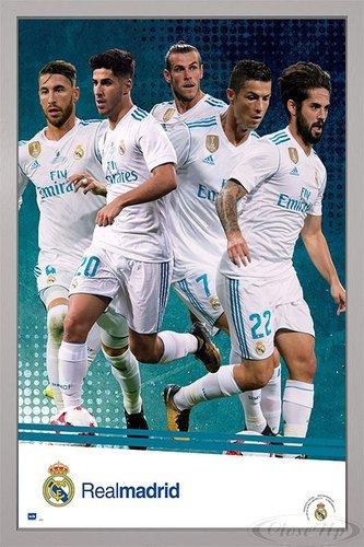 Close Up Real Madrid Poster Mannschaft Saison 2017/18 (66x96,5 cm) gerahmt in: Rahmen Silber