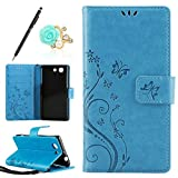 Uposao Kompatibel mit Sony Xperia Z3 Mini Handyhülle Lederhülle Leder Tache Retro Vintage Schmetterling Muster Brieftasche Schutzhülle Flip Wallet Cover Handytasche mit Kartenfächer,Blau