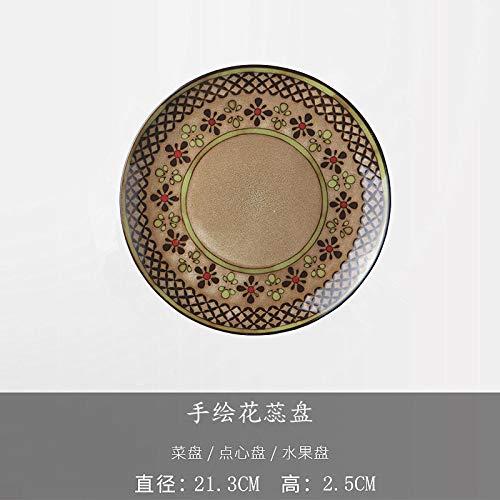 ett Hotel Geschirr Japanische Keramikschale Steak Westlichen Gericht Flache Platte Suppenteller Gericht Muster Farbe 21 Cm ()