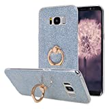 Galaxy S8 Plus Hülle Ring, Moon mood 2in1 Hybrid mit 360° Finger Griff Halter Hülle für Samsung Galaxy S8 Plus Durchsichtige Handyhülle Transparente Silikon TPU Clear Glitter Sticker Full Back Skin