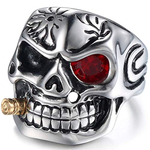 XDBMK Stainless Steel Vintage Gothic Smoking Pirates Skull White CZ Eye Rings for Mens,Silver Black -